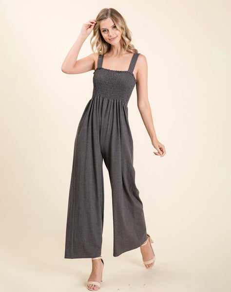 Young Contemporary Wide Legged Knit Smocked Jumpsuit