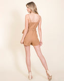 Young Contemporary Woven Romper With Belt And Button Detail