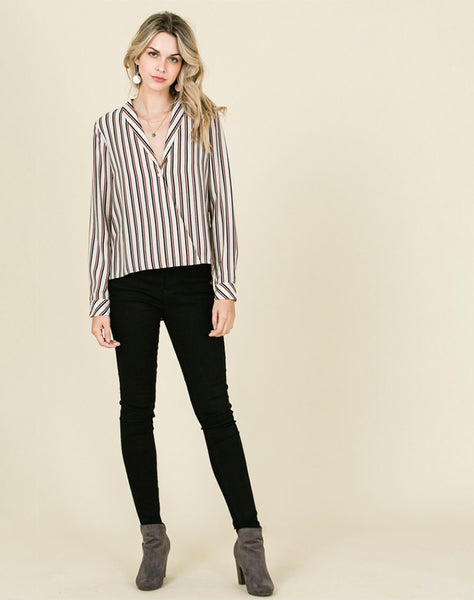 Young Contemporary Long Sleeve Woven Striped Shirt