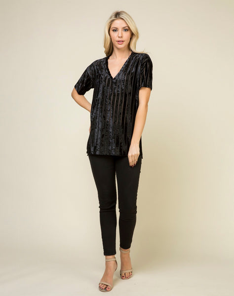 Young Contemporary Short Sleeve  V Neck Velvet Tunic Top