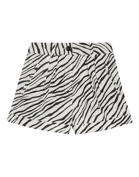 Zebra Printed Linen Shorts With Sequins