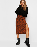 Zebra Split Midi Skirt