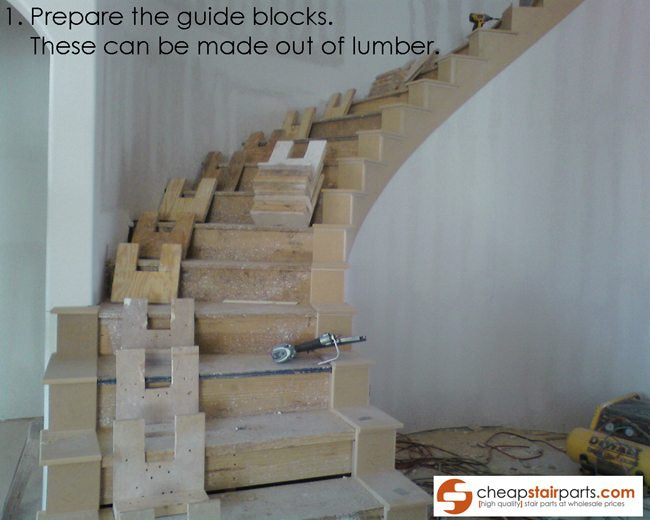 The Guide Blocks Can Be Made Out Of Lumber And Serve As The Handrail Guide.  They Hold The Handrail Into Place In The Correct Curve.