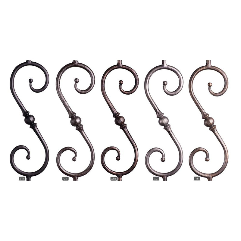2.10.4 Single Sphere Scroll Iron Baluster - Copper Vein Iron Baluster House of Forgings