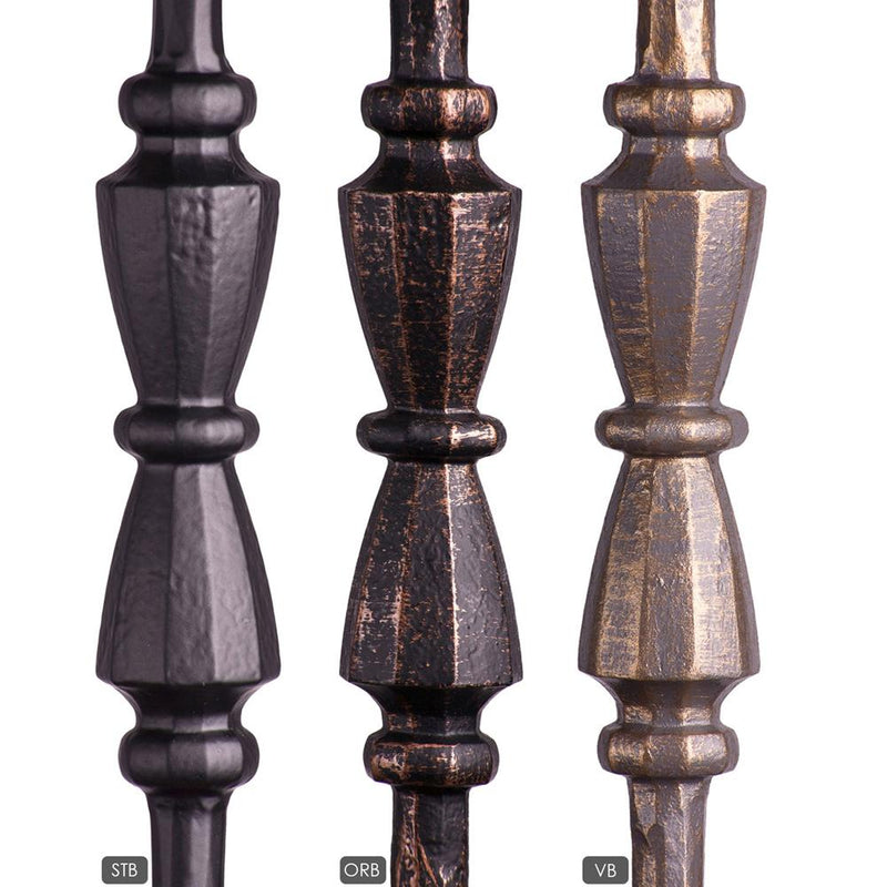1.1.20 Single Hourglass Round Forged Newel - Vintage Brass Iron Newel House of Forgings