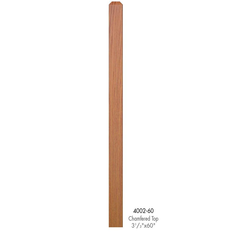4002-60 Contemporary Style Plain Chamfered Top Newel Post Wood Newel House of Forgings