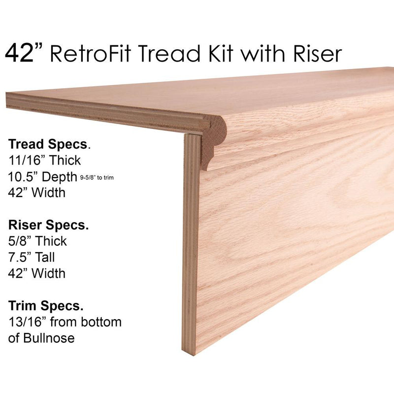 42″ RetroFit Tread Kit with Riser Wood Tread House of Forgings