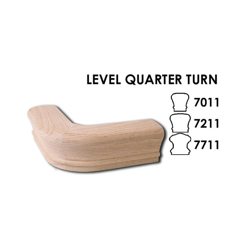 7211 Level Quarter Turn Wood Handrail Fitting