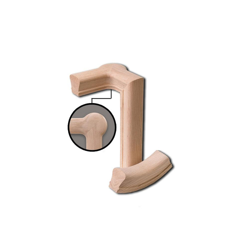 7281 2 Rise Left Hand Gooseneck with Cap Wood Handrail Fitting Wood Handrail Fitting House of Forgings