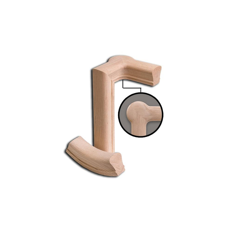 7286 2 Rise Right Hand Gooseneck with Cap Wood Handrail Fitting Wood Handrail Fitting House of Forgings
