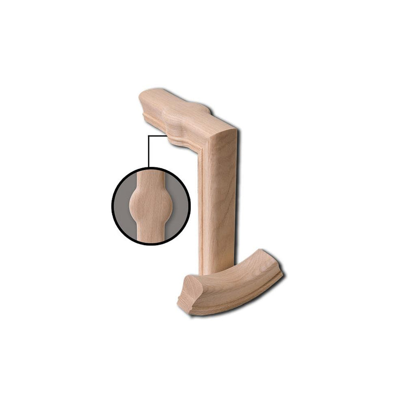 7288-2 2 Rise Straight Gooseneck with Cap Wood Handrail Fitting Wood Handrail Fitting House of Forgings