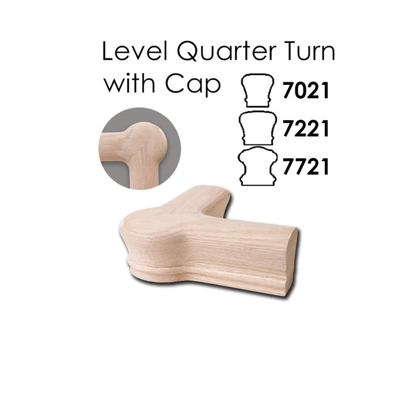 7221 Level Quarter Turn with Cap Wood Handrail Fitting Wood Handrail Fitting House of Forgings