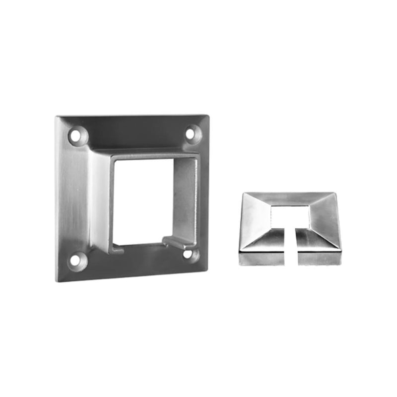 Square Glass Cap Rail Wall Mount Flange GLASS RAILING SYSTEMS House of Forgings