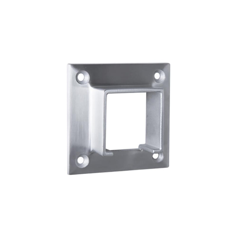 Square Glass Cap Rail Wall Mount Flange GLASS RAILING SYSTEMS House of Forgings Flange Kit