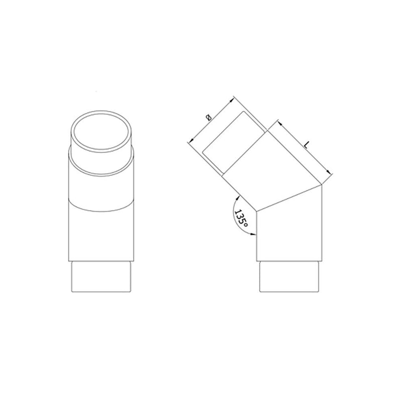45 Degree Elbow for 42.4 mm Round Handrail - Cheap Stair Parts