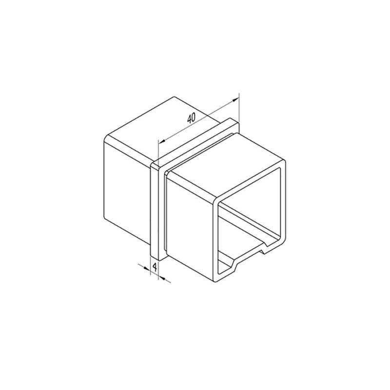Inline Connector for Square Rail – 40 x 40 x 2 mm