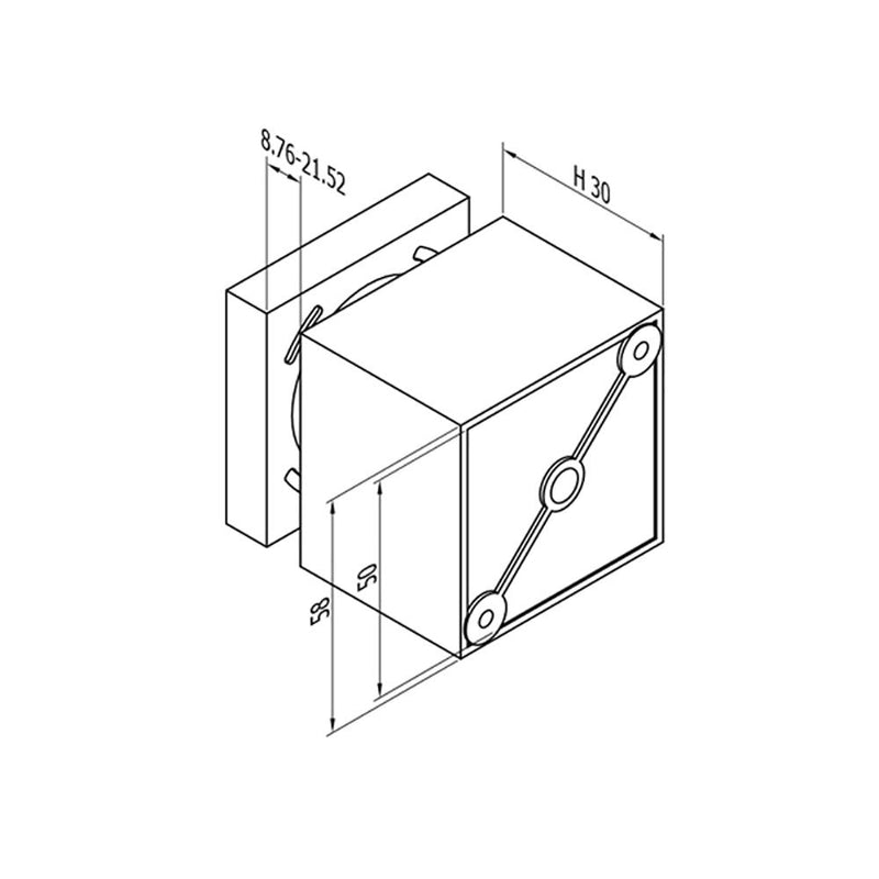Square Glass Standoff – Fits 8.76 to 21.52 mm glass