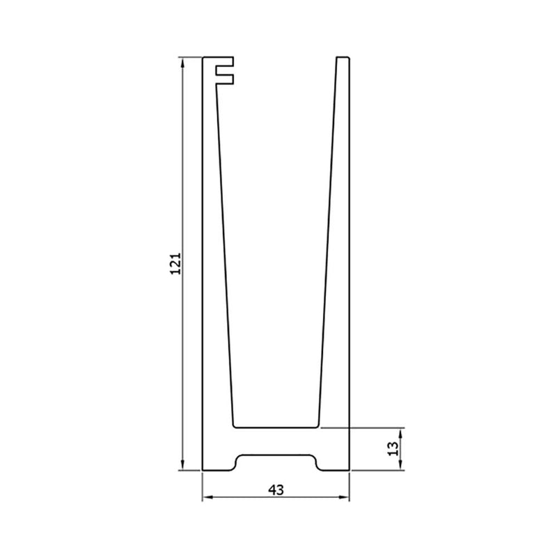 Floor Mount U Channel 120 x 45 mm