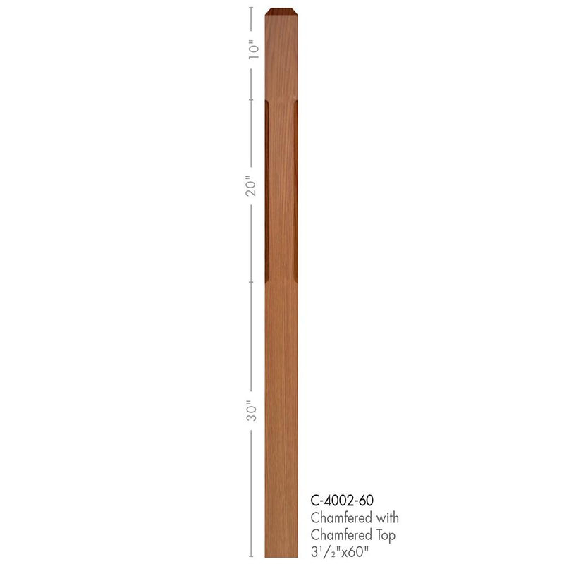 4002-60 Contemporary Style Chamfered with Chamfered Top Newel Post - Cheap Stair Parts