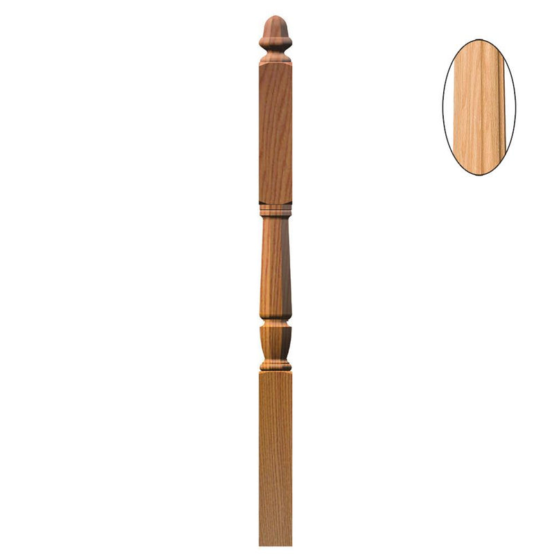 3046-F Bunker Hill Style Intermediate Landing Fluted Newel Post Wood Newel House of Forgings