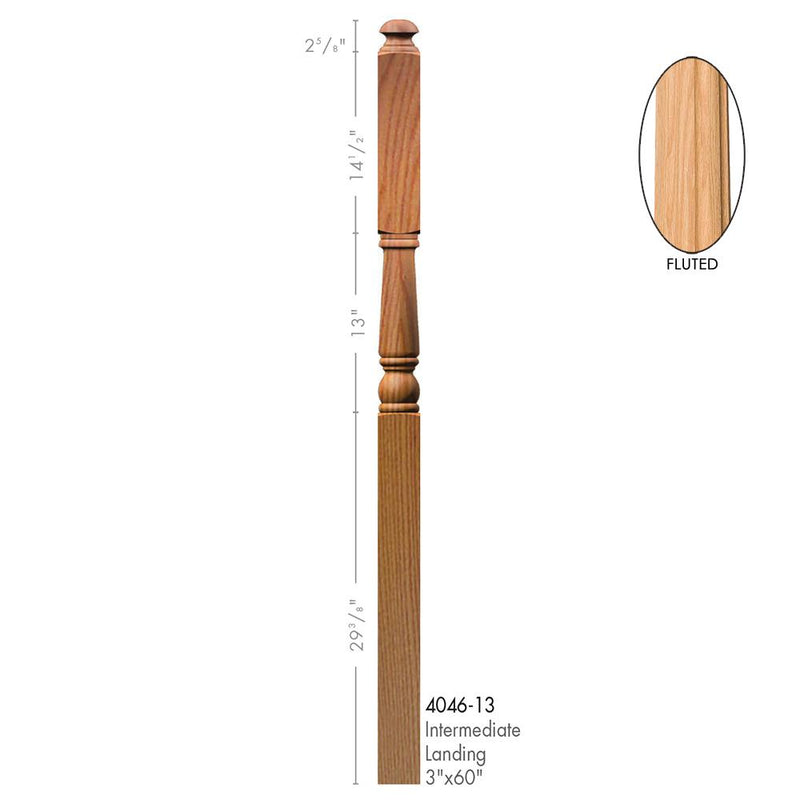4046-13-F Colonial Style Intermediate Landing Fluted Newel Post Wood Newel House of Forgings
