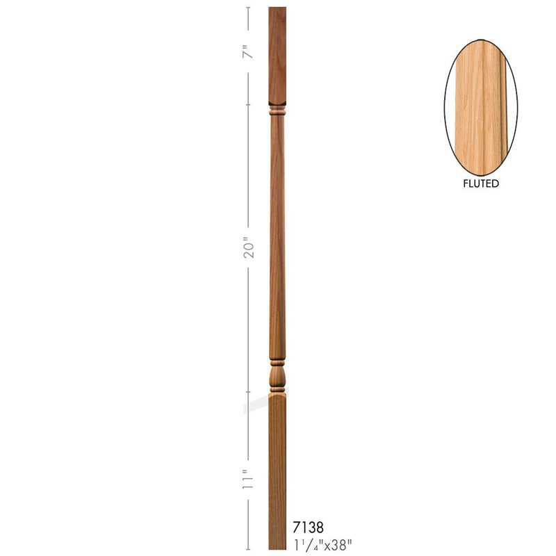 7138-F Colonial Style Square Top Fluted Baluster