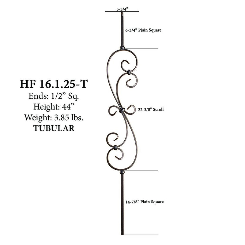 16.1.25-T Large Spiral Scroll Hollow Iron Baluster House of Forgings