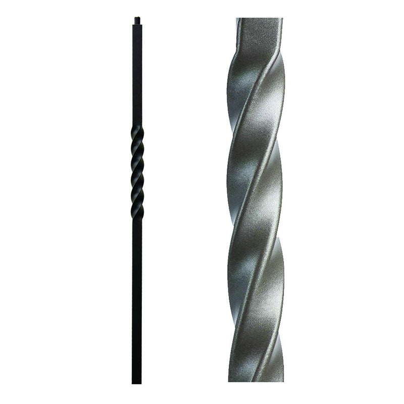 16.5.4-T Single Twist Hollow Iron Newel Post - Ash Grey Iron Newel House of Forgings