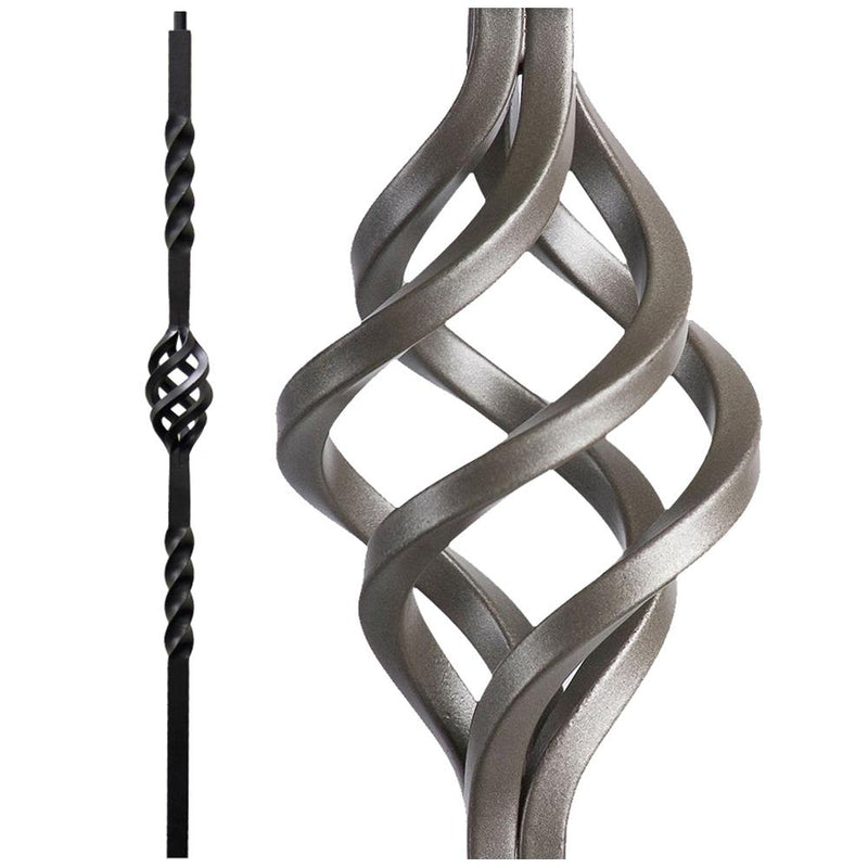 16.5.5-T Single Basket Hollow Iron Newel Post - Ash Grey Iron Newel House of Forgings