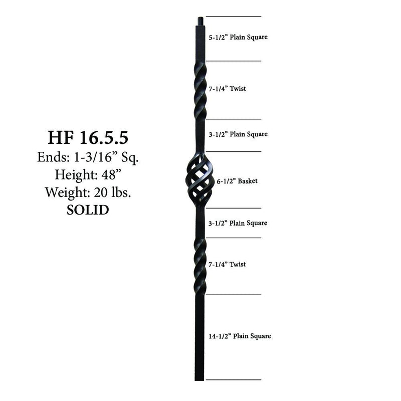 16.5.5 Single Basket Iron Newel Post Iron Newel House of Forgings