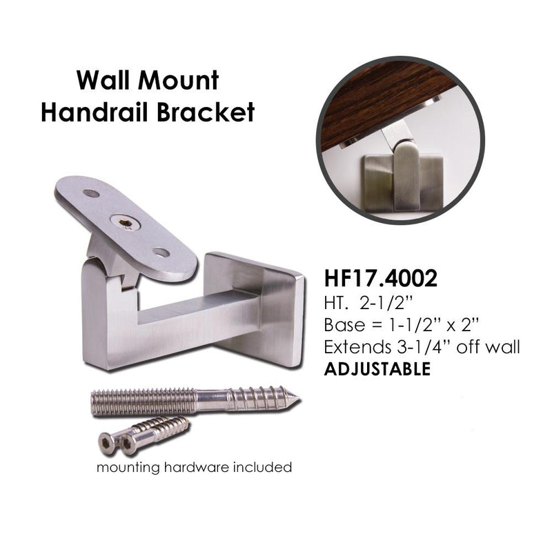 Adjustable Wall Handrail Support for Square or Flat Handrail