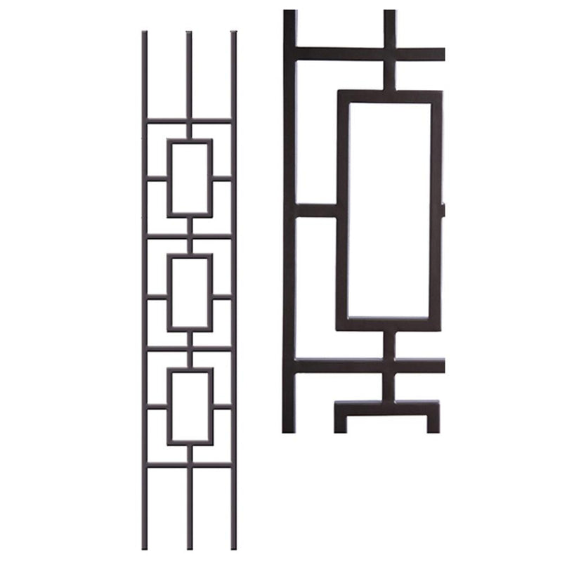 9.4.33 Triple Rectangular Rake Panel Hollow Iron Baluster House of Forgings