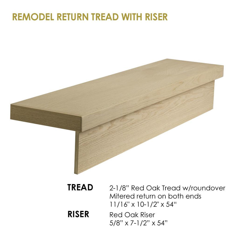 "54"" Modern RetroFit Return Tread Kit with Riser Wood Tread House of Forgings"