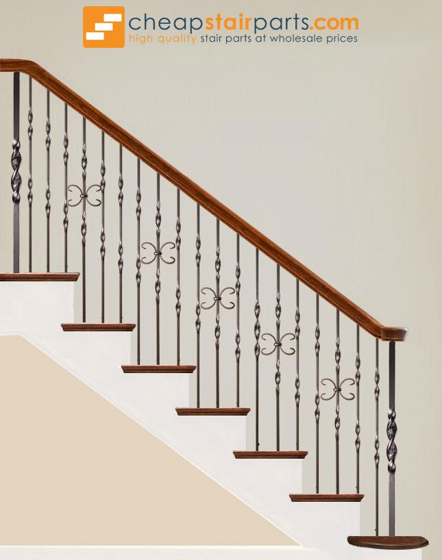 16.5.7 Single Ribbon Twist Iron Newel - Cheap Stair Parts