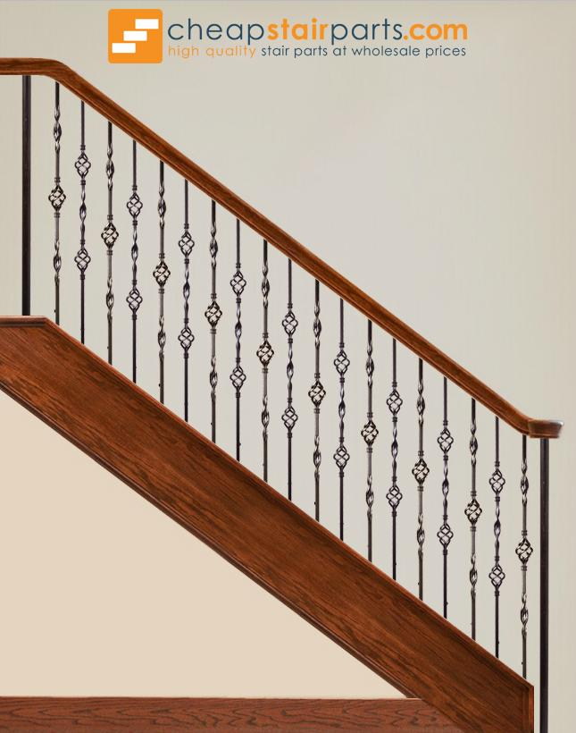 16.3.6 Double Ribbon Single Basket Iron Baluster - Cheap Stair Parts