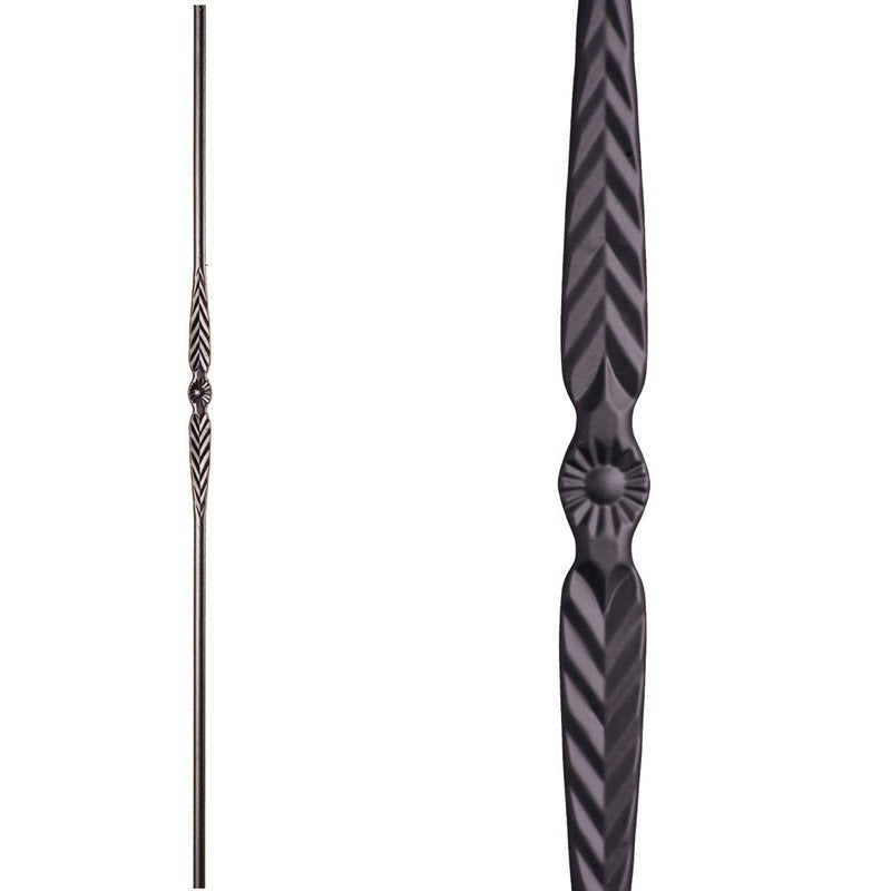 16.1.17 Single Feather Iron Baluster - Satin Black Iron Baluster House of Forgings