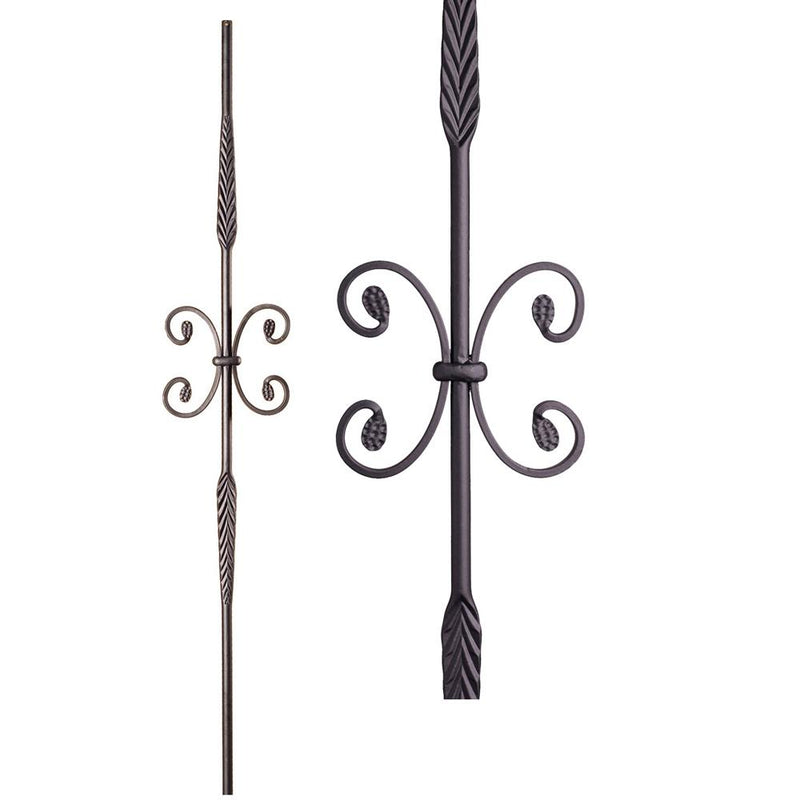 16.1.19 Double Feather Single Butterfly Iron Baluster - Satin Black Iron Baluster House of Forgings