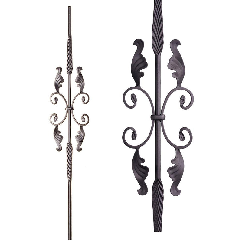 16.1.20 Double Feather Single Butterfly with Leaves - Satin Black Iron Baluster House of Forgings