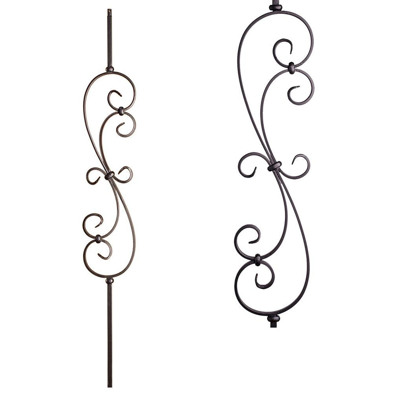 16.1.25-R Round Spiral Scroll Iron Baluster Iron Baluster House of Forgings
