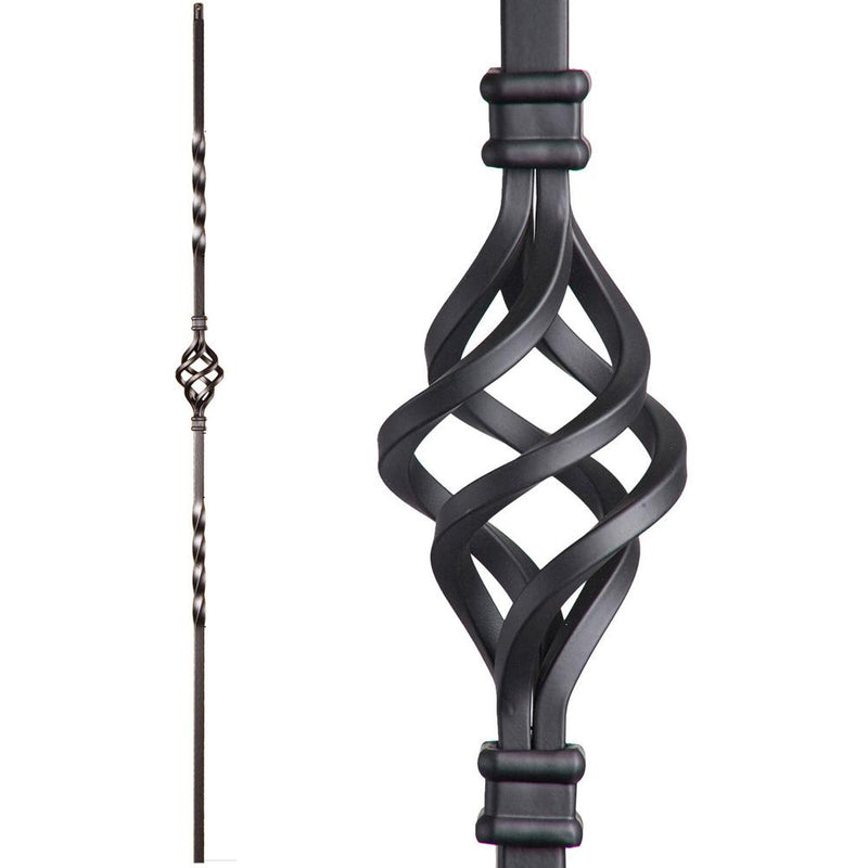16.1.3-T Single Basket Hollow Iron Baluster Iron Baluster House of Forgings