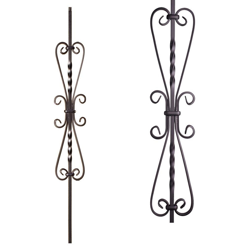 16.1.41 Twisted Heart Scroll Iron Baluster - Satin Black - Cheap Stair Parts