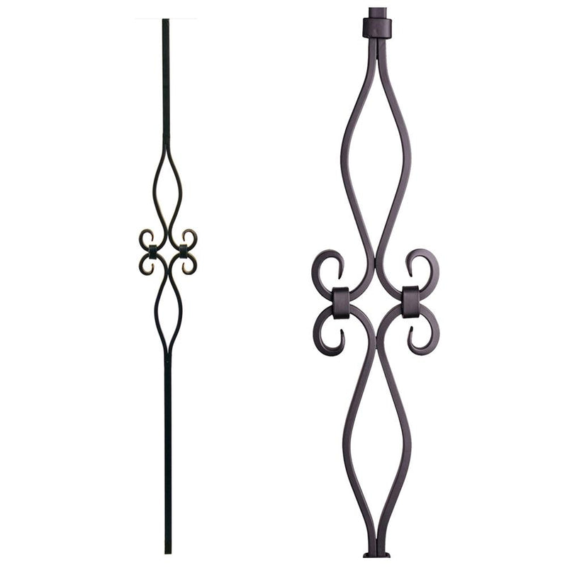16.8.9 Hollow Diamond and Oval Spirals Iron Baluster - Cheap Stair Parts