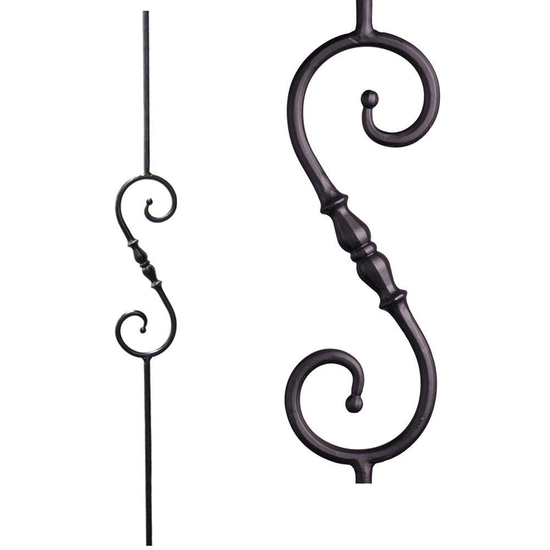 2.1.6 Long Single Knuckle Scroll Iron Baluster - Cheap Stair Parts