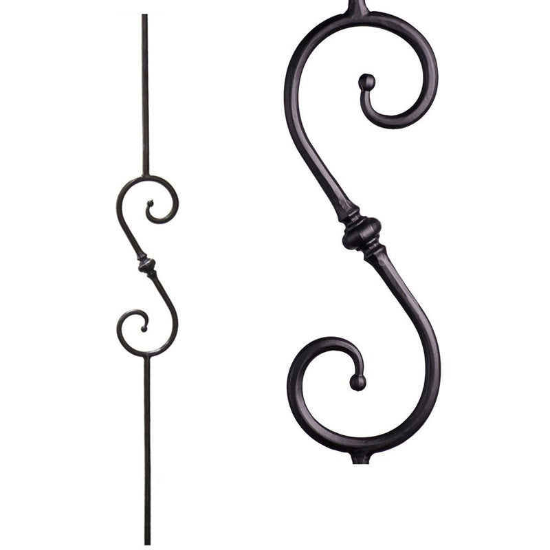 2.1.8 Single Knuckle Scroll Iron Baluster Iron Baluster House of Forgings