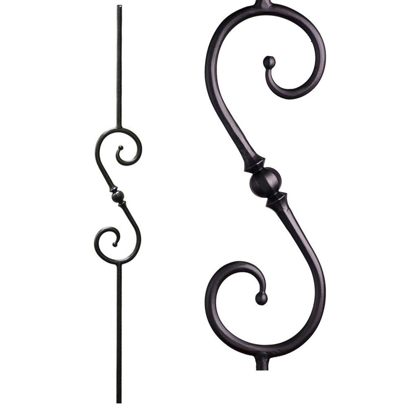 2.10.4 Single Sphere Scroll Iron Baluster - Cheap Stair Parts