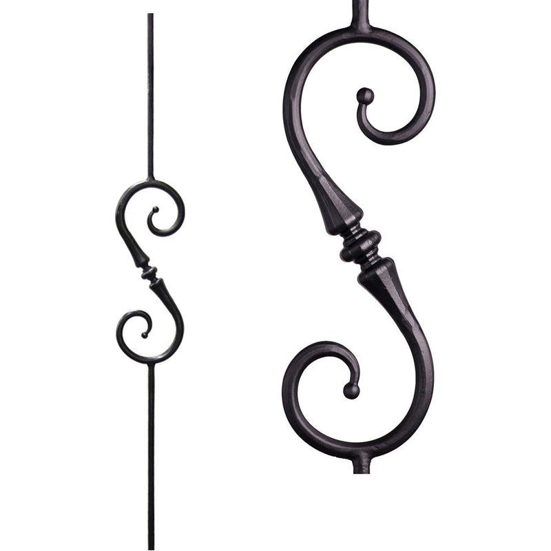 2.6.9 Single Tapered Knuckle Scroll Iron Baluster Iron Baluster House of Forgings