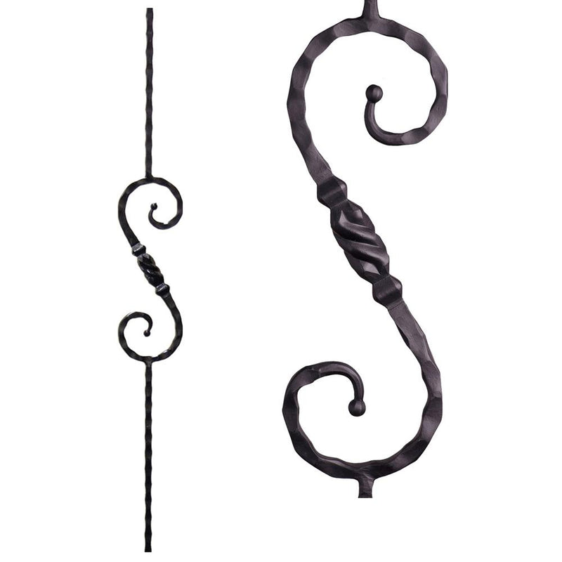 2.9.11 Single Twisted Knuckle Scroll Iron Baluster Iron Baluster House of Forgings