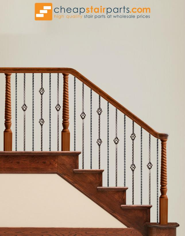 16.1.22 Double Basket Square Edge Hammered Iron Baluster - Cheap Stair Parts