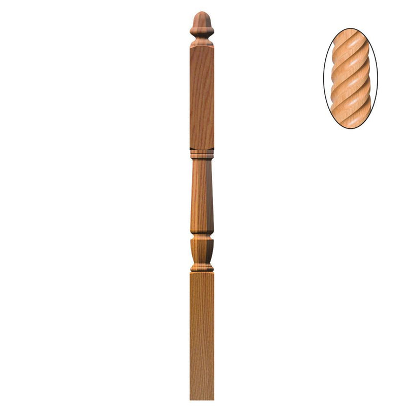 3046-T Bunker Hill Style Intermediate Landing Twisted Newel Post Wood Newel House of Forgings