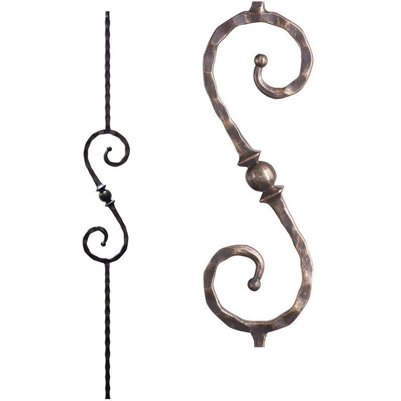 2.9.27 Single Sphere Scroll Iron Baluster - Vintage Brass Iron Baluster House of Forgings